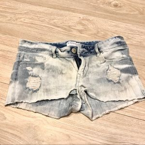 Express Low Rise Jean Distressed Shorts